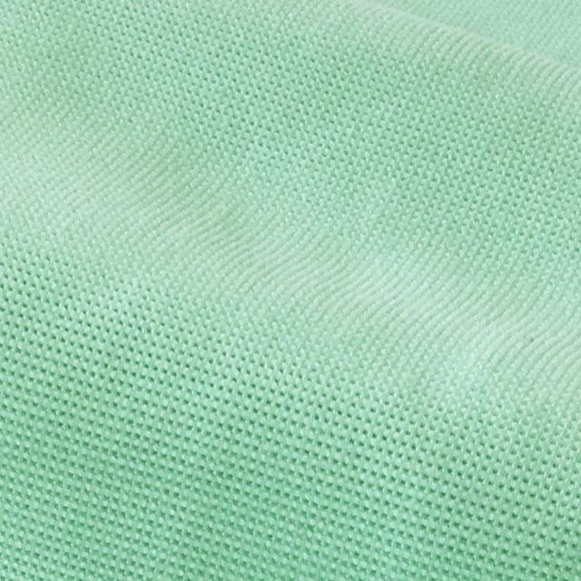 【生地の質感】凹凸のある立体生地です。肌触りがサラサラ。しなやかでソフトな感触です。実際の色は淡いエメラルドグリーンです。