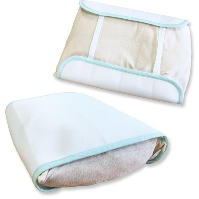 枕にカバーを掛けたイメージ。使用した枕のサイズは幅48×奥行32×厚み9cmです。