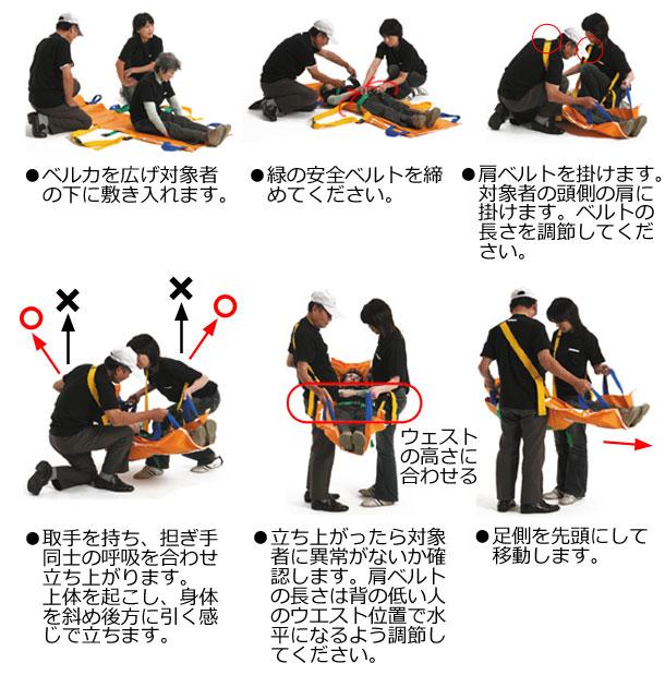 担ぐ際には、担ぎ手の身長差に合わせベルトの長さを調節してから担ぎ上げてください。