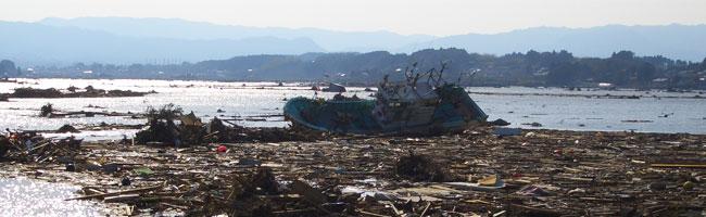 震災後の日下石の田んぼ