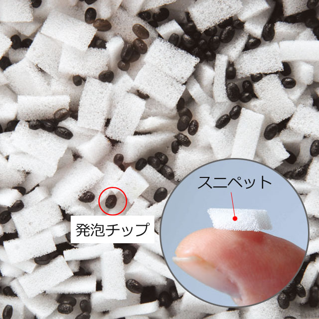 【充填素材ロンボメッド】RMタイプはこの素材です。ロンボフィルに黒い発泡チップを混合した「ロンボメット」を充填しています。ロンボフィルより固めの感触です。