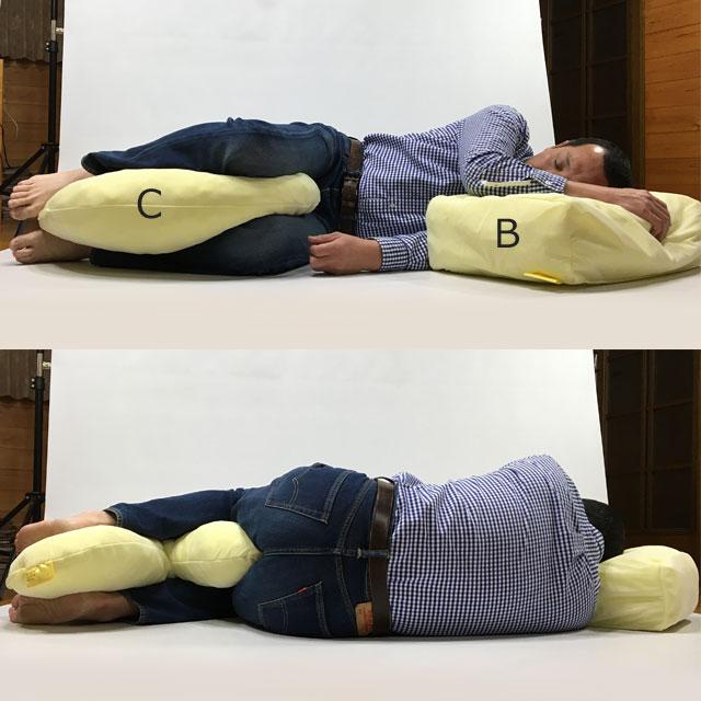【使用例】90度側臥位を真横から見ています。クッションを下肢の間に挟んで下肢が平行に見えるように整えましょう。下肢の内側の除圧と股関節の中間位保持が目的です。