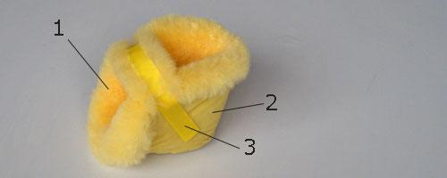 1.内側/シープスキン(オーストラリア産、生後4~5ヵ月の最高級メリノ種羊毛皮革を使用)抗菌加工・防ダニ加工・ノンホルマリン加工済み。※シープスキンとは羊革のこと。ナーシングラックでは羊毛付きの羊革を使用しています。これと同じ呼称に「ムートン」がありますが、ムートンはフランス語です。2.外側/ナイロン布地3.マジックテープ/ナイロン