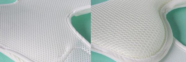 写真左→肌に触れる生地は汗を吸い取り、通気性があります。サラサラした感触です。写真右→体圧分散をするパッドは厚みが約3cm。メッシュ素材のフュージョンを使用。クッション性と通気性を確保します。