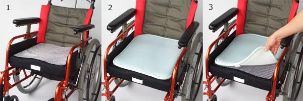 1.今お使いのクッション、または椅子の上に付属の滑り止めシートを敷きます。滑り止めシートを敷かないとクッションパッドが動きます。2.クッションパッドを滑り止めシートの上に乗せます。3.お使いになる前に、滑り止めシートが敷いてあるか必ずご確認ください。