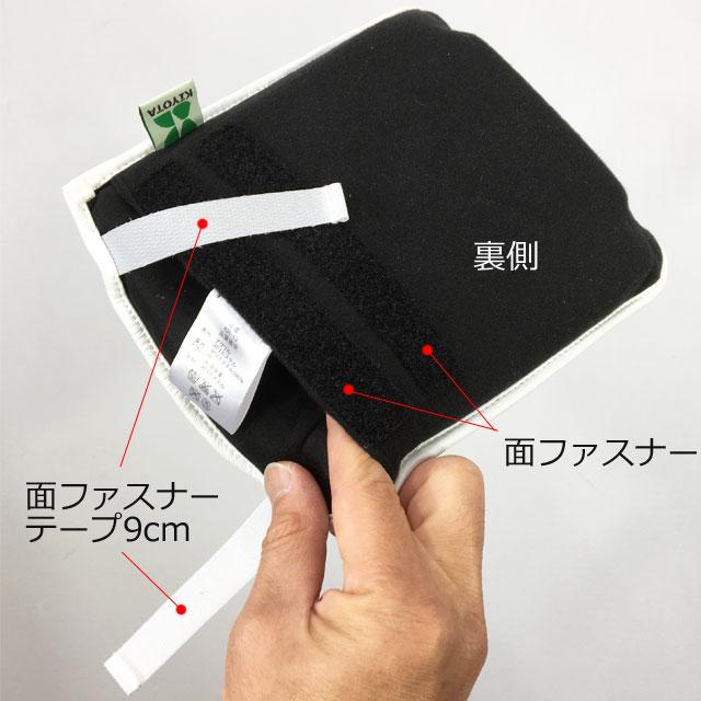 【裏側】人差し指が入っているところにフットサポートを差し込んで面ファスナーテープで固定します。