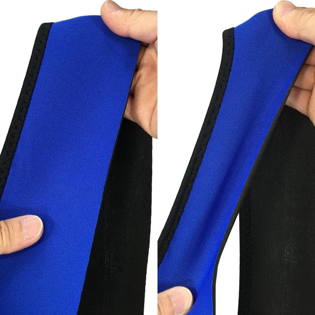 【伸縮素材】2.5mm厚のネオプレン素材を使用。伸縮性と弾力性があります。片側サイドだけパイピングしています。もう片側をしてない理由は特にありません。パイピングなしでも生地がほつれることはありません。