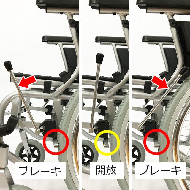 【駐車プレーキ】ブレーキのレバーを前に倒しても後ろに引いてもブレーキが掛けられます。