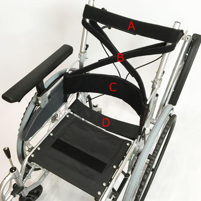 背もたれと座面の張り調節ベルト。(A)胸郭上部を支持します。(B)胸郭全体を形に合わせて支持することができます。(C)骨盤の状態に合わせた支持が出来ます。(D)坐骨の沈み込みを調節してアンカーを形成します。4箇所の調節によりユーザーの座位姿勢への適合が可能になります。
